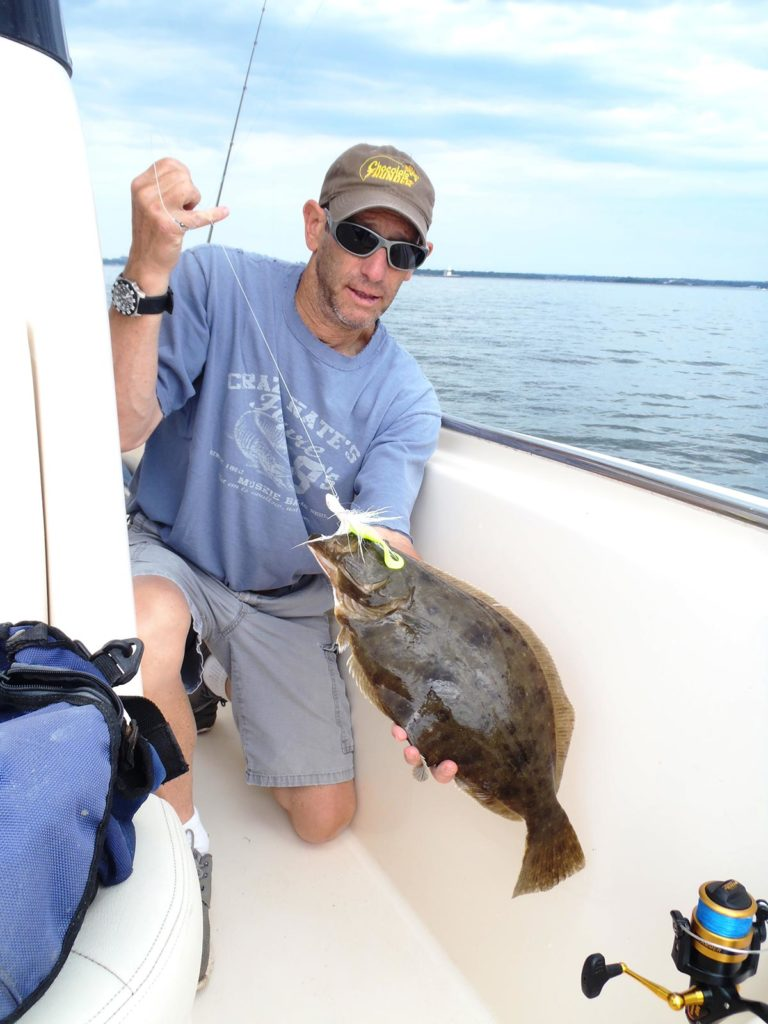 Fishing with white bucktails